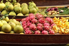 Fruits mixture. Mixture of fresh Tropical fruits from Thailand Floating Market Royalty Free Stock Images