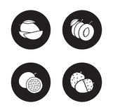Fruits monochrome icons set Royalty Free Stock Images