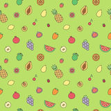 Fruits multicolored outline seamless vector pattern. Modern minimalistic design. Stock Image