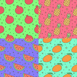Fruits multicolored outline seamless vector pattern set (garnet, pineapple, watermelon, mango). Part one. Stock Photography