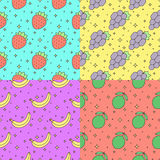 Fruits multicolored outline seamless vector pattern set (strawberry, grape, banana, lime). Part two. Stock Photo