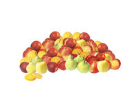 Fruits. Nectarines, oranges, apples, pears - all together great big pile on white background Royalty Free Stock Photos