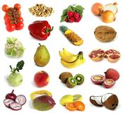 Fruits and nuts. Large page of fruits and nuts on white background royalty free stock image