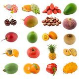 Fruits and nuts. Large page of fruits and nuts isolated on white Royalty Free Stock Photo