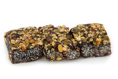 Fruits, nuts and coconut bars Stock Photography