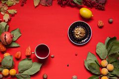 Fruits nuts colorful leaves on the background for breakfast lunch dinner stock photos