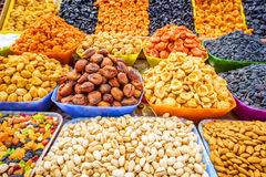 Fruits and nuts. Counter with dried fruit and nuts at a farmers market in Pyatigorsk, Russia Royalty Free Stock Image