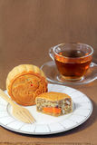 Fruits and Nuts Mooncake with Egg, tea break. Stock Image