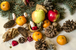 Fruits, nuts, pastries, chocolates with various coniferous cones Royalty Free Stock Photo