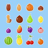 Fruits and nuts sticker. Colorful farm fruits isolated icon. Healthy vegetarian patch illustration. Happy food sticker Royalty Free Stock Photo
