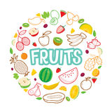 Fruits Objects, Icons, Letters On Circle Frame Royalty Free Stock Photography