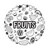 Fruits Objects, Icons, Letters On Circle Frame Stock Image