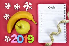 Healthy resolution for the New Year 2019. royalty free stock photos