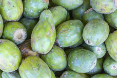 Fruits of Opuntia ficus-indica, cactus fruit (tuna) on a market in Peru,  natural look, close up macro Royalty Free Stock Image