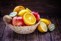 Fruits orange apple kiwi Royalty Free Stock Images