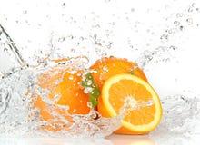 Fruits oranges avec éclabousser l'eau Images libres de droits