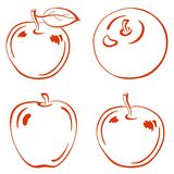 Fruits, outline apples. Fruits, set red symbolical outline apples with leafs Stock Photo