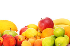 Fruits over white background Stock Photos