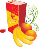 Fruits and packing with juice Stock Photo