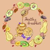 Fruits and pancakes in round vector illustration