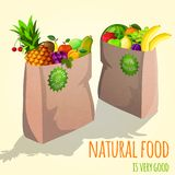 Fruits in paper bag print Stock Images