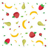 Fruits pattern. Apples, bananas, strawberries and green pears on white background, . Vector illustration stock illustration