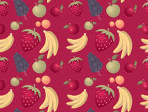 Fruits pattern background - seamless with mixed fruits Stock Photo