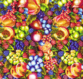 Fruits Pattern Fabric. Different colorful Fruits Pattern Fabric Royalty Free Stock Images