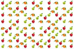 Fruits pattern. Fresh apples and oranges isolated on white Stock Photos