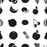 Fruits pattern icons in black style. Big collection of fruits vector symbol stock illustration Stock Photography
