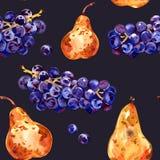 fruits pattern seamless Виноградины и груша E o иллюстрация вектора