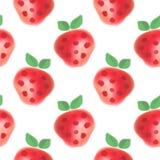 fruits pattern seamless Предпосылка акварели с клубниками нарисованными рукой Иллюстрация вектора