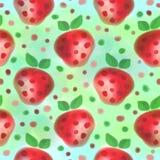fruits pattern seamless Предпосылка акварели с клубниками нарисованными рукой Бесплатная Иллюстрация