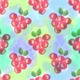 fruits pattern seamless Предпосылка акварели с ягодами нарисованными рукой Бесплатная Иллюстрация