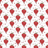 fruits pattern seamless Симметричная предпосылка с клубниками на белом фоне Иллюстрация вектора
