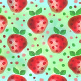 fruits pattern seamless 水彩背景用手拉的草莓 免版税库存图片
