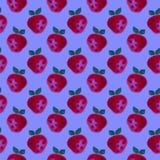fruits pattern seamless 水彩背景用手拉的草莓 图库摄影