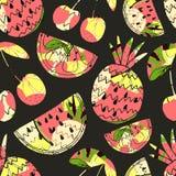 fruits pattern seamless 背景逗人喜爱的夏天 也corel凹道例证向量 免版税图库摄影