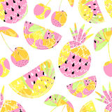 fruits pattern seamless 背景逗人喜爱的夏天 也corel凹道例证向量 库存照片