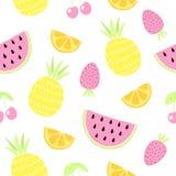 fruits pattern seamless 背景逗人喜爱的夏天 也corel凹道例证向量 免版税库存图片