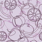 Fruits pattern. Fruits  seamless pattern background orange, banana, apple Stock Image
