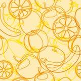 Fruits pattern. Fruits seamless pattern background orange, banana, apple stock illustration
