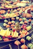 Fruits, patty cakes and small snacks, toned stock images