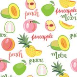 Fruits peach, guava, melon, pineapple pattern and hand Royalty Free Stock Photos