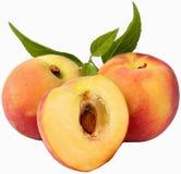 Fruits-Peaches. Fruit realeased on white background stock images