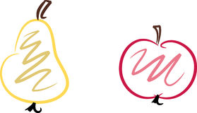 Fruits: Pear and apple. Simple colorful line-art illustration of pear and apple fruits Royalty Free Stock Photography