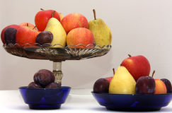 Fruits4. Pear apple plum plate fruit autumn Royalty Free Stock Images