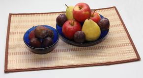 Fruits5. Pear apple plum plate fruit autumn Royalty Free Stock Photo