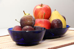 Fruits6. Pear apple plum plate fruit autumn Stock Photography