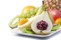 Fruits and pears with jam closeup luxury food stock image